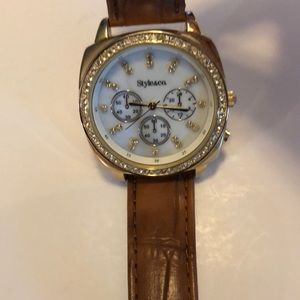 Style &Co gold and brown leather watch